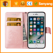 Shenzhen factory Professional For iPhone 6s two card slot flip wallet leather phone case