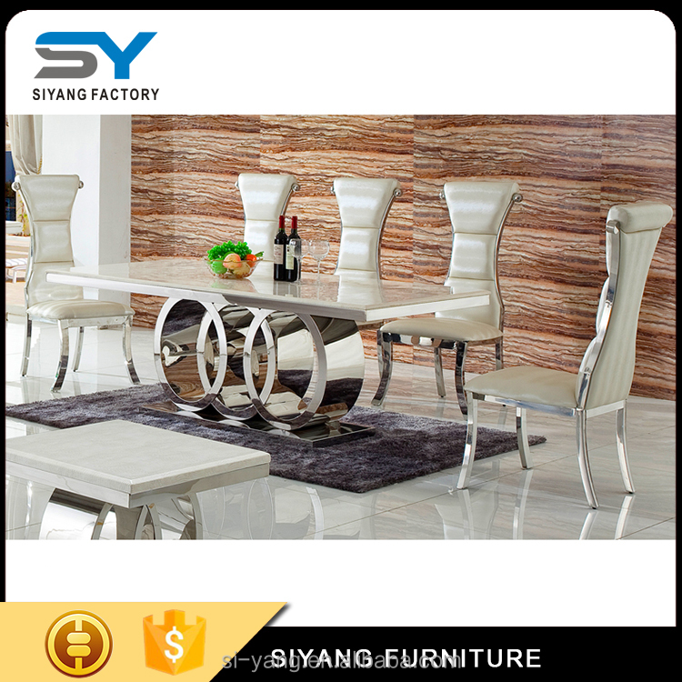 contemporary glass stainless steel dining table wedding table