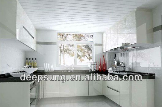Good quality Popular Cream white color high glossy modern style kitchen cabinet