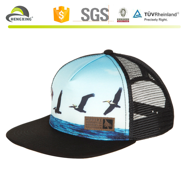 Flat bill design your own sublimation foam mesh hat