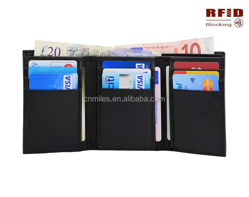 Top grain trifold RFID blocking leather wallet for men slim rfid wallet