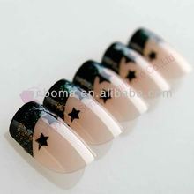 Star pattern with shining gliter nails professional products French False Nail Tips