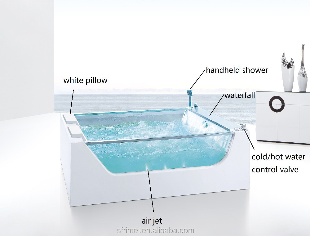 Indoor Right Drain Location Two Person Freestanding Acrylic Whirlpool Tubs K-8956