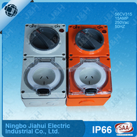 Australian standard 3 flat Pins 15A combination switch and socket, NINGBO manufacture triple phase switched socket outlet