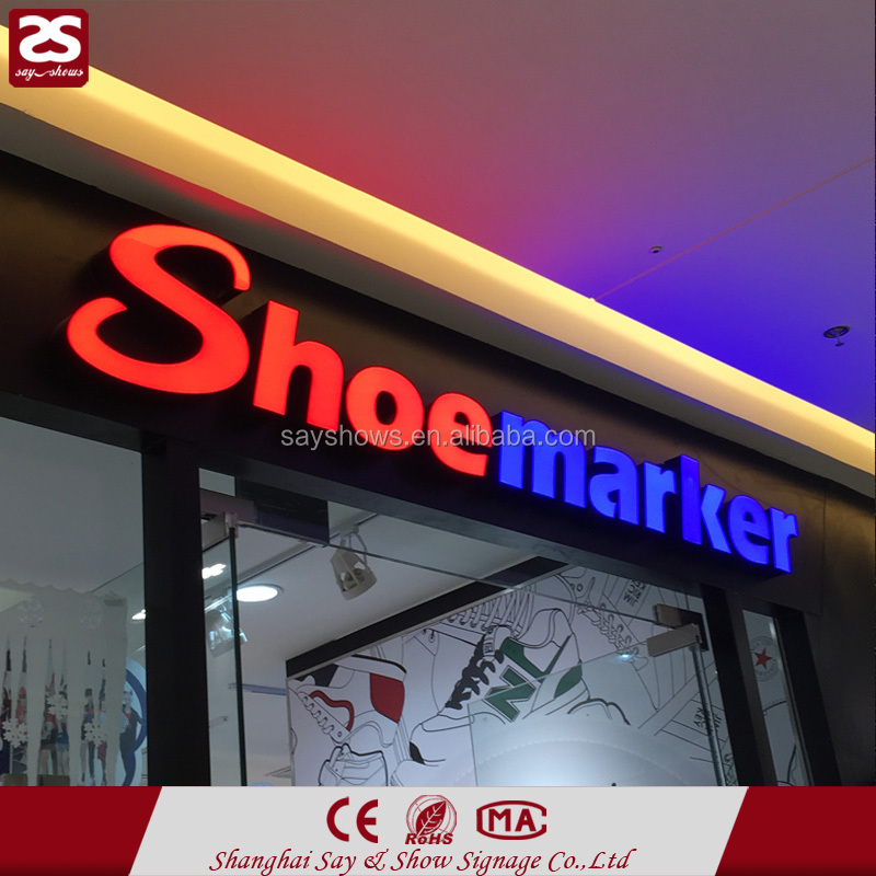Outdoor advertising acrylic led frontlit letter store front sign