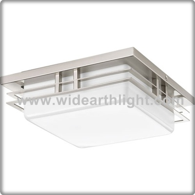 UL CUL Listed Brushed Nickel Hotel Square Bathroom Ceiling Light Lamp With Glass Cover C81405