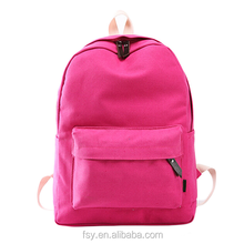 Wholesale blank custom young soft school canvas backpack