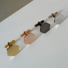 Custom made copper cufflink blanks 18k gold plating new cuff links set