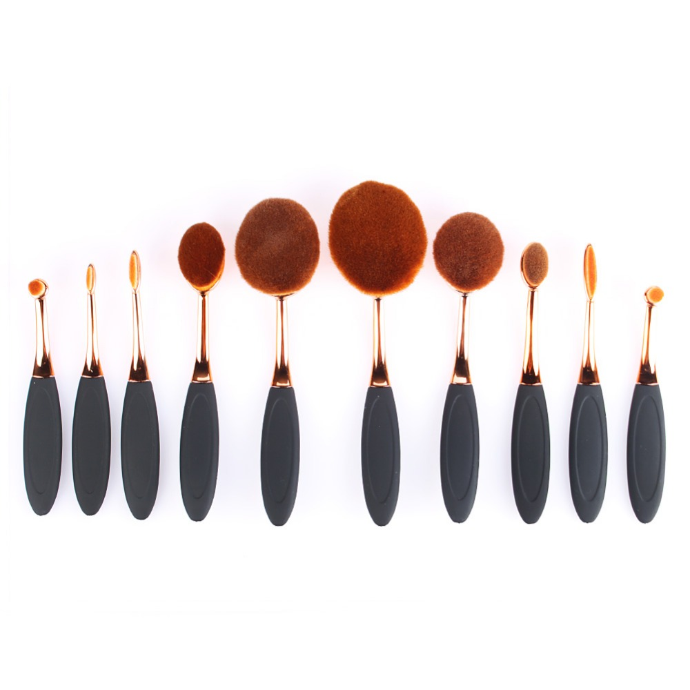 Rose gold Oval Toothbrush shape manufacturers china make up brushes professional