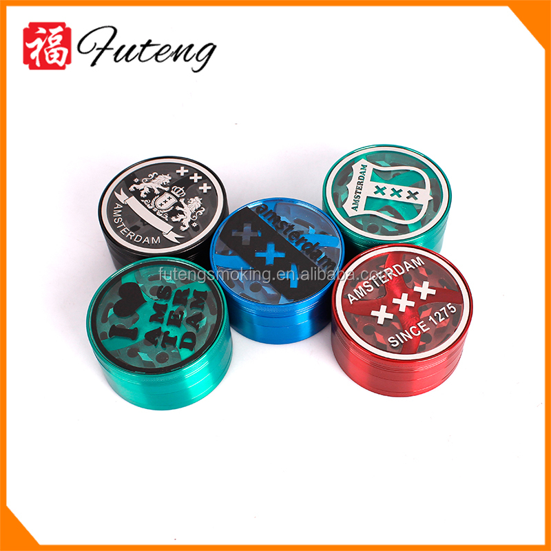 YiWu FuTeng Zinc Wholesale Pellet Flash Manual 55mm 3 Parts Manual Herb Tobacco Grinder Smoking