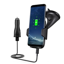 High quality mount ABS+Silicone qi wireless car charger with holder quick charge 3.0 for iphone