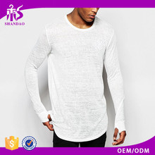 2016 Guangzhou Shandao Manufacturer New Arrivals Men Stylish Casual O-Neck Long Sleeve 160g 100% Cotton Curved Hem T Shirt
