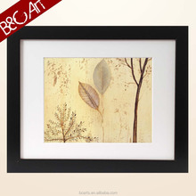 Contemporary wall art painting slim trees still life leaves oil painting
