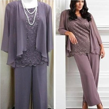 MO117 Real Sample Three Pieces Lace Chiffon Mother's Pants Suit Purple Long Mother of the bride Dress Wedding Party Gown