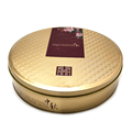 Round customized full embossed metal cookies tin box