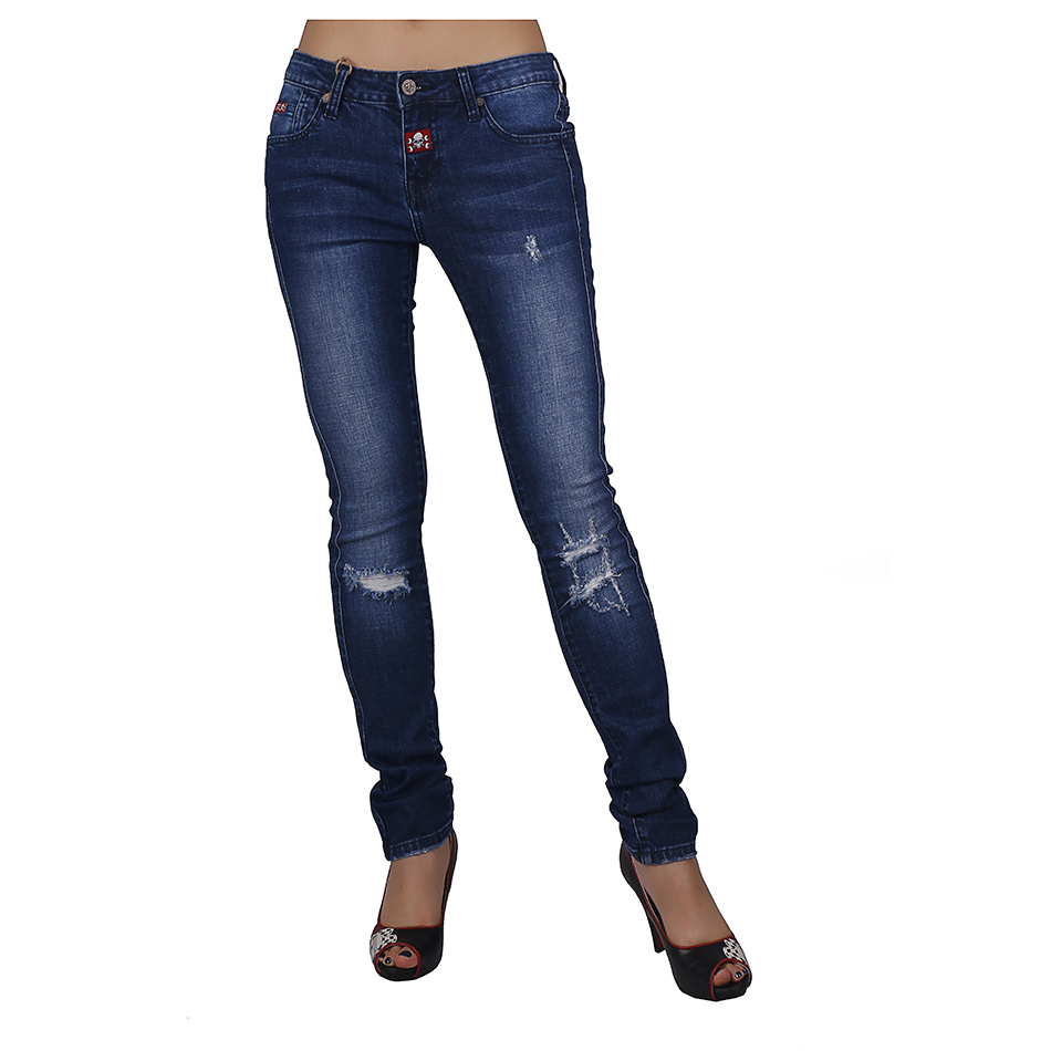 new design distressed jeans with cute model hole blue jeans dirty wash cotton vaqueros rotos mujer