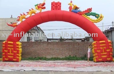 Happiness and festive inflatable wedding arch