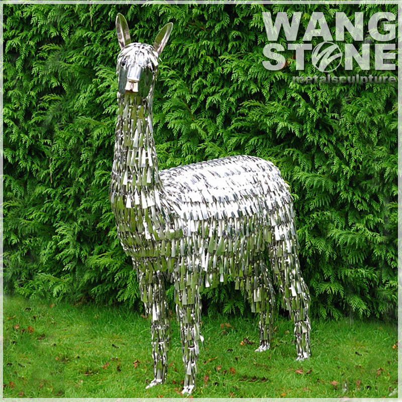 Modern Garden Animal Stainless Steel Alpaca Sculpture