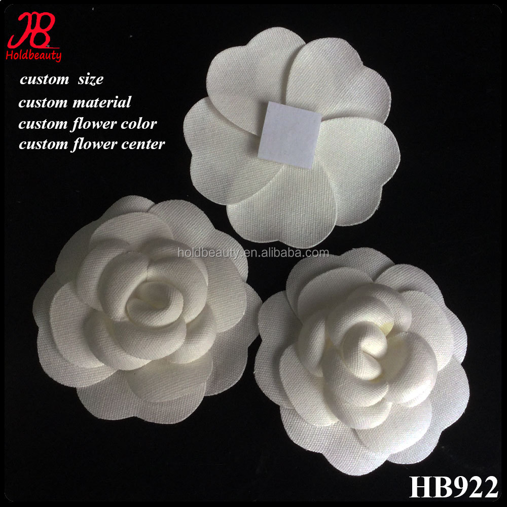Handmade Vintage white cotton fabric camellia flower