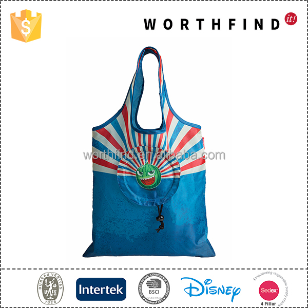 Custom Design Recyclable Foldable Shopping Drawstring Bag Polyester