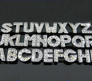 Free shipping 8mm 10mm 18mm 30mm rhinestone slide letter bead for wristband