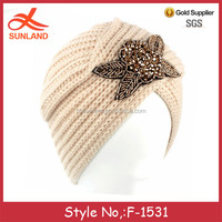 F-1531 new hot sale knitted arab hijab sex girl turban for 2016 winter wholesale
