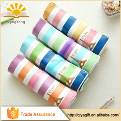 colorful unique roll up folding custom canvas high school pattern unbranded pencil case