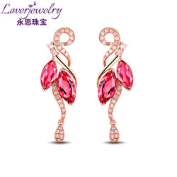 China Manufacture Wholesale Marquise Cut Pink Tourmaline Earrings For Ladies Solid 18k Gold With Diamond Jewelry SE0207