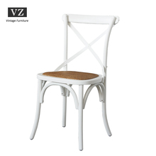 Vintage White Birch Wood French X Back Wood Chair Cross Back Chair With Rattan Cushion