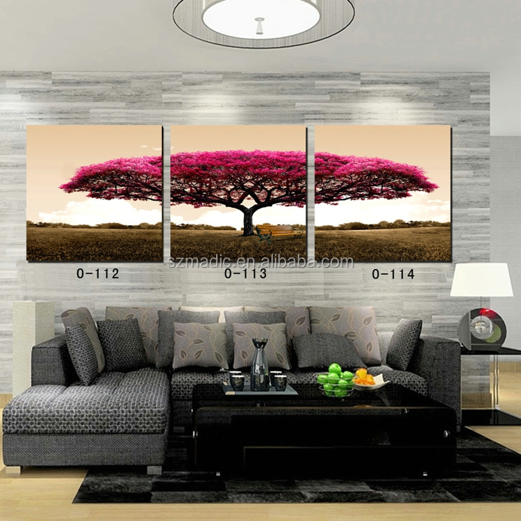 Natural Landscape Painting 3 Panel Red Tree Home Decoration Wall Art Canvas Art Painting Wholesale