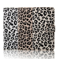 for Note 5 wallet leather case cover with fancy leopard print