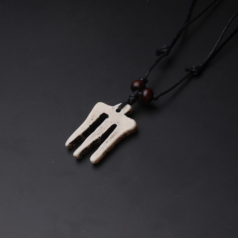 2016 punk fashion resin bone caveing fork pendant & adjustale wax rope sweater chain necklace