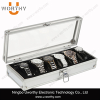 6 Grid Watch Display Jewelry Storage Box Case Aluminium Square Organizer Holder Slots Luxury Watch Box