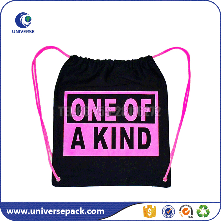 Convient drawstring canvas sports bag with logo