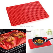 Non stick red color BBQ pyramid pan silicone baking mat