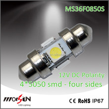 Four sides 4smd Festoon liense board light c5w car board trunk lamp SMD auto led crar lamp