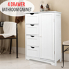 Matt white MDF bathroom storage rack cabinet with 4 drawers and 1 door for amazon,ebay