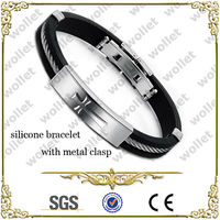 Sideway Cross Cable Wire Black Silicone Bracelet With metal Clasp