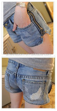 THE 2013 NEW SIDE ZIPPER WASHED BLUE WOMEN'S LOW JEANS SHORTS