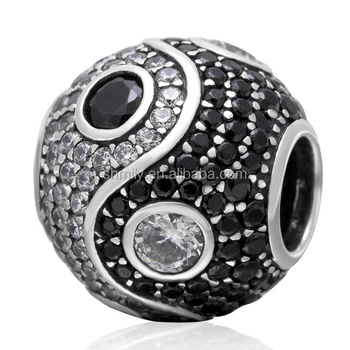 Tai Ji Pattern Black White Zircon Pave Round 925 Sterling Silver Beads Fit European Charm Bracelet Necklace Jewellery SZPB223