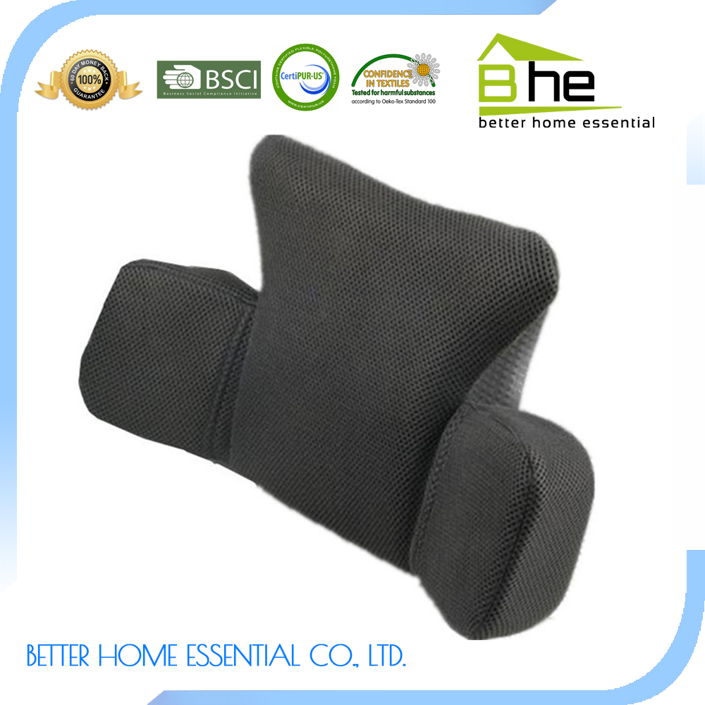 Black memory foam therapaetic mesh back lumbar support