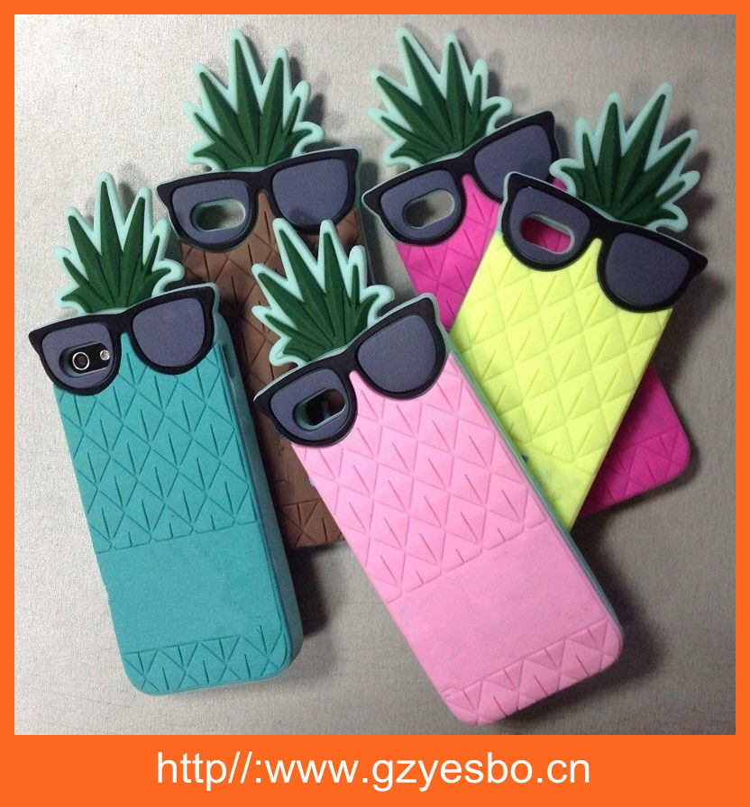 3D cute fruit silicone pineapple case for iphone 5 5S 6 6plus
