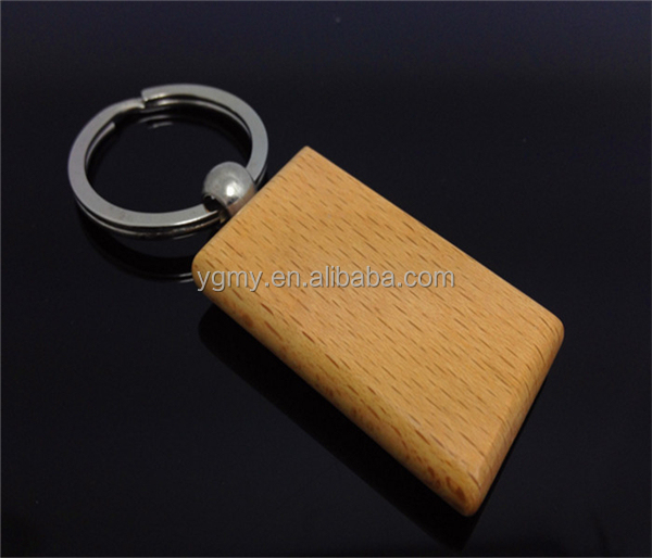 Blank Wooden Key Chain Promotion Rectangle Carving Key ID can custom Engrave DIY Keychain 2.2''*1.25''