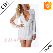 2016 pictures of latest gowns designs deep v-neck sexy mini short one piece girls party dresses