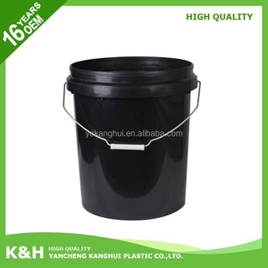 New design 5 gallon black plastic bucket 20l oil paint plastic bucket 20 liter paint bucket with great price