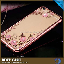 Soft TPU Secret Garden Flower Pattern Electroplate smart phone cover case for iPhone 6
