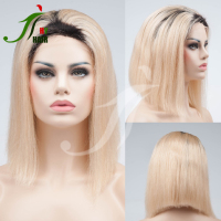 Short Ombre Front Lace Bob Wig Two Tone Dark Roots/613 Human Hair Blonde Bob Wigs for Fashion Women
