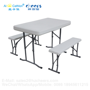 Outdoor Beer Garden Foldable Table and Bench, Patio Garden Folding Beer Table Set