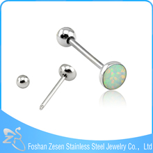 New Design Stainless Steel Body Jewelry Opal Barbell Bar Tongue Ring