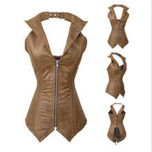 Private Label Leather Full Steel Boned Steampunk Corset Spiral Bustiers Women
